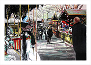 Round Pastels Prints - Cologne Christmas Market Print by Barry Rothstein
