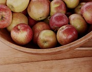 Wooden Bowl Prints - Colonial Apples Print by Donna Cavanaugh