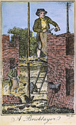 Colonist Framed Prints - COLONIAL BRICKLAYER, 18th C Framed Print by Granger