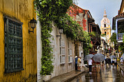 Damp Framed Prints - Colonial buildings in old Cartagena Colombia Framed Print by David Smith