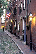 Colonial Flag Posters - Colonial Era Town Houses And American Poster by Richard Nowitz