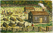 Log Cabin Prints - Colonial Farm Site, 18th C Print by Granger