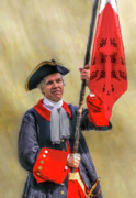 Reenactment Posters - Colonial French Flag Bearer Poster by Randy Steele