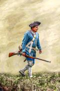 Reenactment Posters - Colonial French Soldier with Rifle Poster by Randy Steele