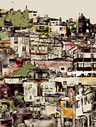 Muted Mixed Media Prints - Colonial Hilltown 1 Print by Linda  Parker