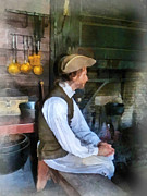 Fireplace Art - Colonial Man in Kitchen by Susan Savad