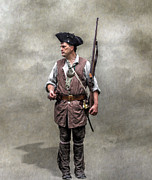 Revolutionary War Digital Art Prints - Colonial Militia Soldier 1777 Print by Randy Steele