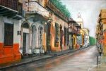 City Streets Pastels Prints - Colonial place - Sta Marta Colombia Print by Leonor Thornton