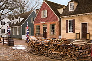 Williamsburg Prints - Colonial Shops Print by Sally Weigand
