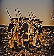 Reenactment Art - Colonial Soldiers on Parade by Bill Cannon