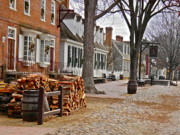 Colonial Framed Prints - Colonial Street Scene Framed Print by E Robert Dee
