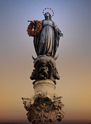 Virgin Mary Metal Prints - Colonna dell Immacolata Rome Italy Metal Print by Bill Cannon