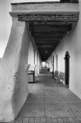 Adobe Architecture Prints - Colonnade At Mission Santa Ines Print by Steven Ainsworth