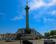 Bastille Photo Prints - Colonne de Juillet and Opera de Paris Bastille Print by Louise Heusinkveld
