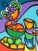 Fruit And Wine Paintings - Color Carnival-A by Mary Tere Perez