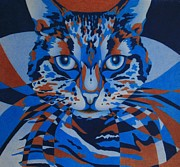 Animals Drawings Posters - Color Cat III Poster by Pamela Clements