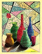 Mason Jars Drawings Prints - Color drawing of Vases with flower Print by Mario  Perez