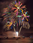 Fire Works Prints - Color Explosion Print by Michael  Ayers