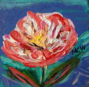 Primitive Raw Art Paintings - Color in a Carnation by Mary Carol Williams