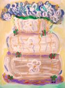Warm Tones Drawings - Color in a Wedding Cake by Mary Carol Williams