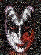 Gene Simmons Framed Prints - Color KISS Gene SImmons Mosaic Framed Print by Paul Van Scott