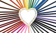 Color Pencils Posters - Color My Heart Poster by Vava Fuller-quinn