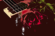 Music Prints - Color red rose and Guitar Print by M K  Miller