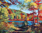 Red Autumn Posters - Color Rich Harriman Park Poster by David Lloyd Glover
