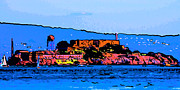 Panoramic Digital Art - Color Sketch of Alcatraz in San Francisco by Wingsdomain Art and Photography