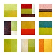 Squares Art - Color Study Abstract Collage by Michelle Calkins