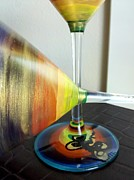 Dragonfly Glass Art - Color Wheel Dragonfly Martinis by Karen Osborn