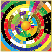 Optical Digital Art Posters - Color Wheel Poster by Gary Grayson