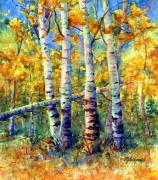 Fall Paintings - Colorado Aspen Grove by Mary Giacomini