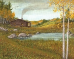 Mountain Cabin Paintings - Colorado Cabin by Don Lindemann