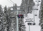 Colorado Mountains Posters - Colorado Chair Lift during Winter Poster by Brendan Reals