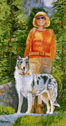 Collie Drawings Framed Prints - Colorado Collie Hiker Framed Print by Susan A Becker