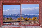 Colorado Nature Landscape Framed Prints - Colorado Country Red Rustic Picture Window Frame Photo Art Framed Print by James Bo Insogna