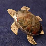 Sterling Silver Jewelry - Colorado Dinosaur Dung Sterling Silver Turtle Pin by Lynette Fast