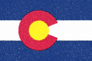 Plaster Digital Art Posters - Colorado Flag plaster Poster by Cristophers Dream Artistry