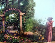 Park Scene Painting Originals - Colorado Flower Garden 2 by Stephen  Hanson