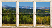 Landscape With Mountains Framed Prints - Colorado Indian Peaks Autumn Rustic Window View Framed Print by James Bo Insogna