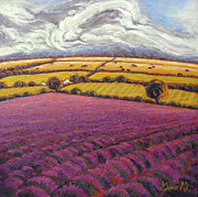 Impressionistic Landscape Paintings - Colorado Lavender Country by Gina Grundemann