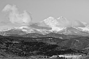 Colorado Mountains Photos - Colorado Longs Peak Circling Clouds  BW by James Bo Insogna
