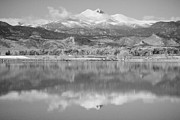 Mountains Photographs Framed Prints - Colorado Longs Peak Circling Clouds Reflection BW Framed Print by James Bo Insogna