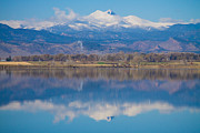 Stock Images Framed Prints - Colorado Longs Peak Circling Clouds Reflection Framed Print by James Bo Insogna