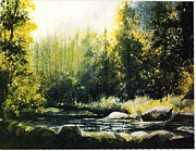 Beautiful Creek Mixed Media Prints - Colorado  Mountains Print by Pati Pelz