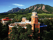 Old Main Photos - Colorado Old Main and Flatirons by University of Colorado