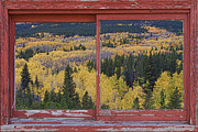 Fall Photos Framed Prints - Colorado Red Rustic Picture Window Frame Photo Art Framed Print by James Bo Insogna