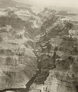 Colorado Framed Prints Posters - Colorado River and Grand Canyon in Monochrome Poster by M K  Miller