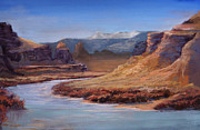National Pastels Originals - Colorado River Cliffs by Heather Coen